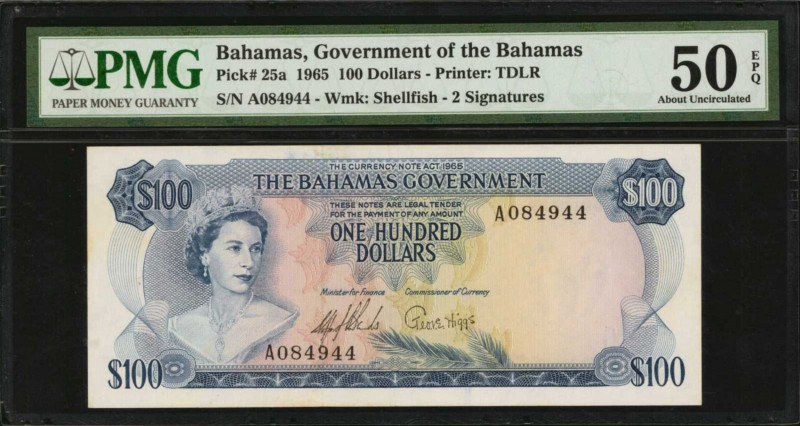 BAHAMAS. Government of the Bahamas. 100 Dollars, 1965. P-25a. PMG About Uncircul...