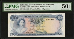 BAHAMAS. Government of the Bahamas. 100 Dollars, 1965. P-25a. PMG About Uncirculated 50 EPQ.