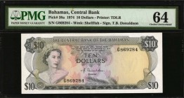 BAHAMAS. Central Bank. 10 Dollars, 1974. P-38a. PMG Choice Uncirculated 64.