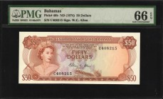 BAHAMAS. Central Bank. 50 Dollars, ND (1974). P-40b. PMG Gem Uncirculated 66 EPQ.