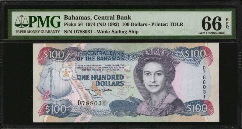 BAHAMAS. Central Bank. 100 Dollars, 1974 (ND 1992). P-56. PMG Gem Uncirculated 6...