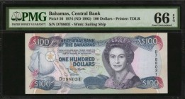 BAHAMAS. Central Bank. 100 Dollars, 1974 (ND 1992). P-56. PMG Gem Uncirculated 66 EPQ.