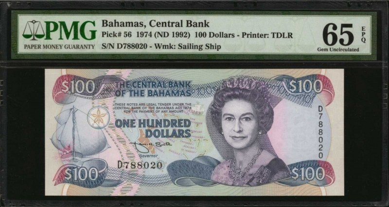 BAHAMAS. Central Bank. 100 Dollars, 1974 ( ND 1992). P-56. PMG Gem Uncirculated ...