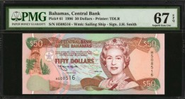 BAHAMAS. Central Bank. 50 Dollars, 1996. P-61. PMG Superb Gem Uncirculated 67 EPQ.