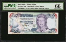 BAHAMAS. Central Bank. 100 Dollars, 1996. P-62. Low Serial Number. PMG Gem Uncirculated 66 EPQ.