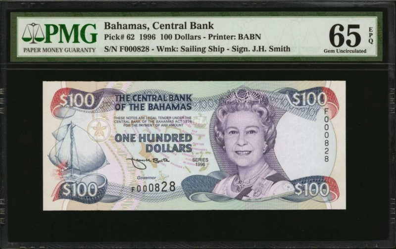 BAHAMAS. Central Bank. 100 Dollars, 1996. P-62. Low Serial Number. PMG Gem Uncir...