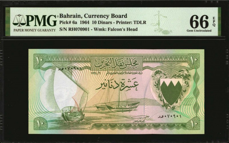 BAHRAIN. Currency Board. 10 Dinars, 1964. P-6a. PMG Gem Uncirculated 66 EPQ.