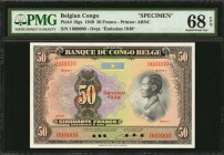BELGIAN CONGO. Banque du Congo Belge. 50 Francs, 1949. P-16gs. Specimen. PMG Superb Gem Uncirculated 68 EPQ.