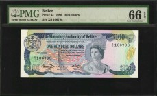BELIZE. Monetary Authority of Belize. 100 Dollars, 1980. P-42. PMG Gem Uncirculated 66 EPQ.