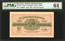 BERMUDA. Government of Bermuda. 5 Shillings, 1920. P-3a. PMG Choice Uncirculated 64.
