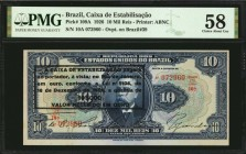 BRAZIL. Caixa de Estabilisacao. 10 Mil Reis, 1926. P-109A. PMG Choice About Uncirculated 58.
