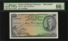BRITISH CARIBBEAN TERRITORIES. British Caribbean Territories, Eastern Group. 5 to 100 Dollars, 1950-51. P-3s to 6s. Specimens. PMG Gem Uncirculated 66...
