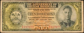 BRITISH HONDURAS. Government of British Honduras. 10 Dollars, 1947. P-27a. Fine.