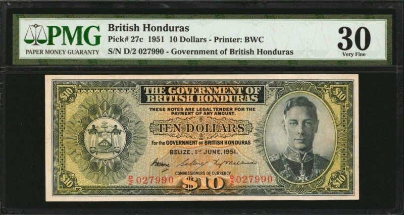 BRITISH HONDURAS. Government of British Honduras. 10 Dollars, 1951. P-27c. PMG V...