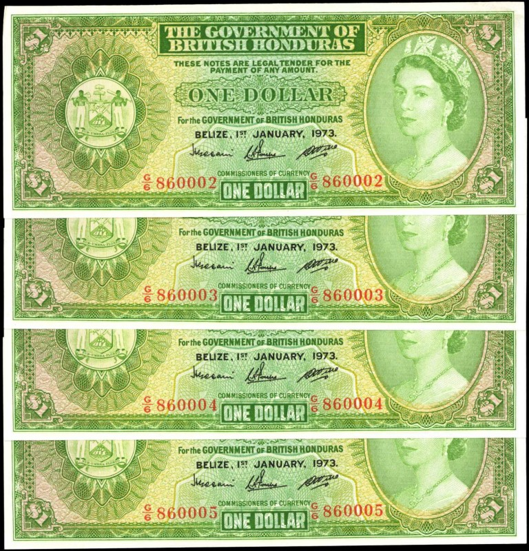 BRITISH HONDURAS. Government of British Honduras. 1 Dollar, 1973. P-28c. Consecu...