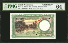 BRITISH WEST AFRICA. West African Currency Board. 10 Shillings, 1955. P-9s. Specimen. PMG Choice Uncirculated 64.