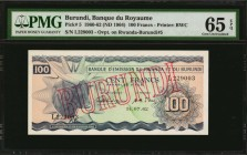 BURUNDI. Banque du Royaume. 100 Francs, 1960-62 (ND 1964). P-5. PMG Gem Uncirculated 65 EPQ.