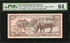 BURUNDI. Banque du Royaume. 500 Francs, 1960-61 (ND 1964). P-6. PMG Choice Uncirculated 64.