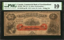 CANADA. Commercial Bank of Newfoundland. 2 Dollars, 1888. CH #185-18-04. PMG Very Good 10.