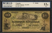CANADA. La Banque Nationale. 1 to 10 Dollars, 1860. P-S841c, S842, S843b & S844b. WBG Very Good 8 to Fine 12.