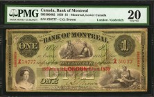 CANADA. Bank of Montreal. 1 Dollar, 1859. CH #505-30-06-02. PMG Very Fine 20.