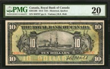 CANADA. Royal Bank of Canada. 10 Dollars, 1913. CH #630-12-06. PMG Very Fine 20.