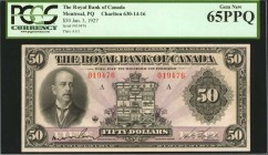 CANADA. Royal Bank of Canada. 50 Dollars, 1927. CH #630-14-16. PCGS Currency Gem New 65 PPQ.