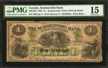CANADA. Summerside Bank. 1 Dollar, 1884. CH #705-14-04. PMG Choice Fine 15.