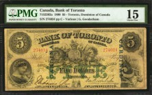 CANADA. Bank of Toronto. 5 Dollars, 1890. CH #715-22-02a. PMG Choice Fine 15.