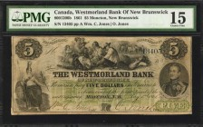CANADA. Westmorland Bank of New Brunswick. 5 Dollars, 1861. CH #800-12-06b. PMG Choice Fine 15.