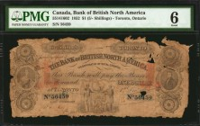CANADA. Bank of British North America. 1 Dollar, 1852. CH #55-14-16-02. PMG Good 6.