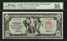 CANADA. Canadian Bank of Commerce. 5 Dollars, 1917. CH #75-16-04-06a. PMG About Uncirculated 55.