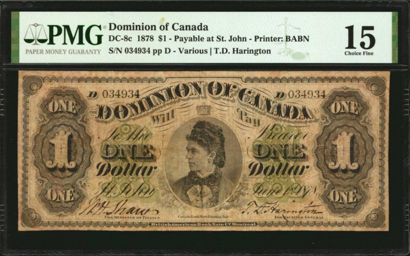 CANADA. Dominion of Canada. 1 Dollar, 1878. DC-8c. PMG Choice Fine 15.