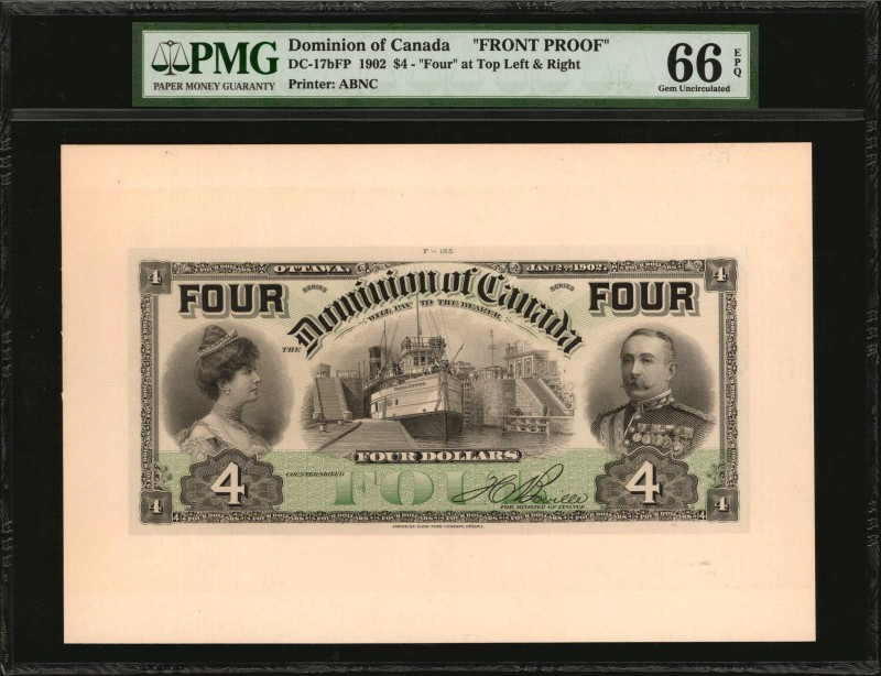 CANADA. Dominion of Canada. 4 Dollars, 1902. DC-17bFP. Front Proof. PMG Gem Unci...