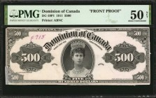 CANADA. Dominion of Canada. 500 Dollars, 1911. DC-19P1 & 19P2. Front & Back Proofs. PMG About Uncirculated 50 & 50 Net.