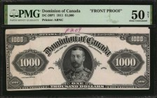 CANADA. Dominion of Canada. 1000 Dollars, 1911. DC-20P1 & P2. Front & Back Proofs. PMG About Uncirculated 50 Net & About Uncirculated 53.