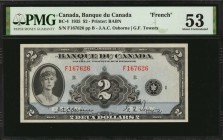 CANADA. Banque du Canada. 2 Dollars, 1935. BC-4. French. PMG About Uncirculated 53.