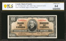 CANADA. Bank of Canada. 100 Dollars, 1937. BC-27b. PCGS Banknote Choice Uncirculated 64.
