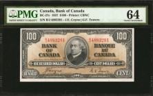 CANADA. Bank of Canada. 100 Dollars, 1937. BC-27c. PMG Choice Uncirculated 64.
