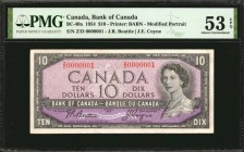 CANADA. Bank of Canada. 10 Dollars, 1954. BC-40a. Serial Number 1. PMG About Uncirculated 53 EPQ.