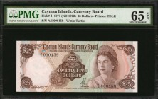 CAYMAN ISLANDS. Currency Board. 1 to 25 Dollars, 1971 (ND 1972). P-1a, 2a, 3 & 4. PMG Choice Uncirculated 63 EPQ & Gem Uncirculated 65 EPQ.