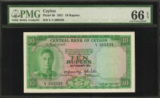 CEYLON. Central Bank of Ceylon. 10 Rupees, 1951. P-48. PMG Gem Uncirculated 66 EPQ.