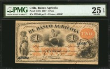 CHILE. Banco Agricola. 1 Peso, 1887. P-S106. PMG Very Fine 25 EPQ.