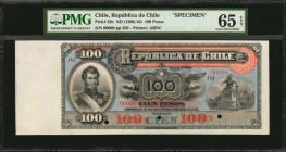 CHILE. Republica de Chile. 100 Pesos, ND (1906-16). P-26s. Specimen. PMG Gem Uncirculated 65 EPQ.