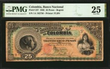 COLOMBIA. Banco Nacional. 25 Pesos, 1895. P-237. PMG Very Fine 25.