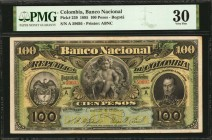 COLOMBIA. Banco Nacional. 100 Pesos, 1895. P-239. PMG Very Fine 30.