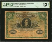 COLOMBIA. Republica de Colombia. 1000 Pesos, 1908. P-316. PMG Fine 12 Net. Severed & Reattached.