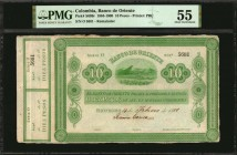 COLOMBIA. Banco de Oriente. 10 Pesos, 1883. P-S699r. Remainder. PMG About Uncirculated 55.