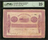 COLOMBIA. Banco de Oriente. 100 Pesos, 1884-1900. P-S701. PMG Very Fine 25.