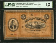 COLOMBIA. Banco de Panama. 5 Pesos, No Date. P-S722r. Remainder. PMG Fine 12.